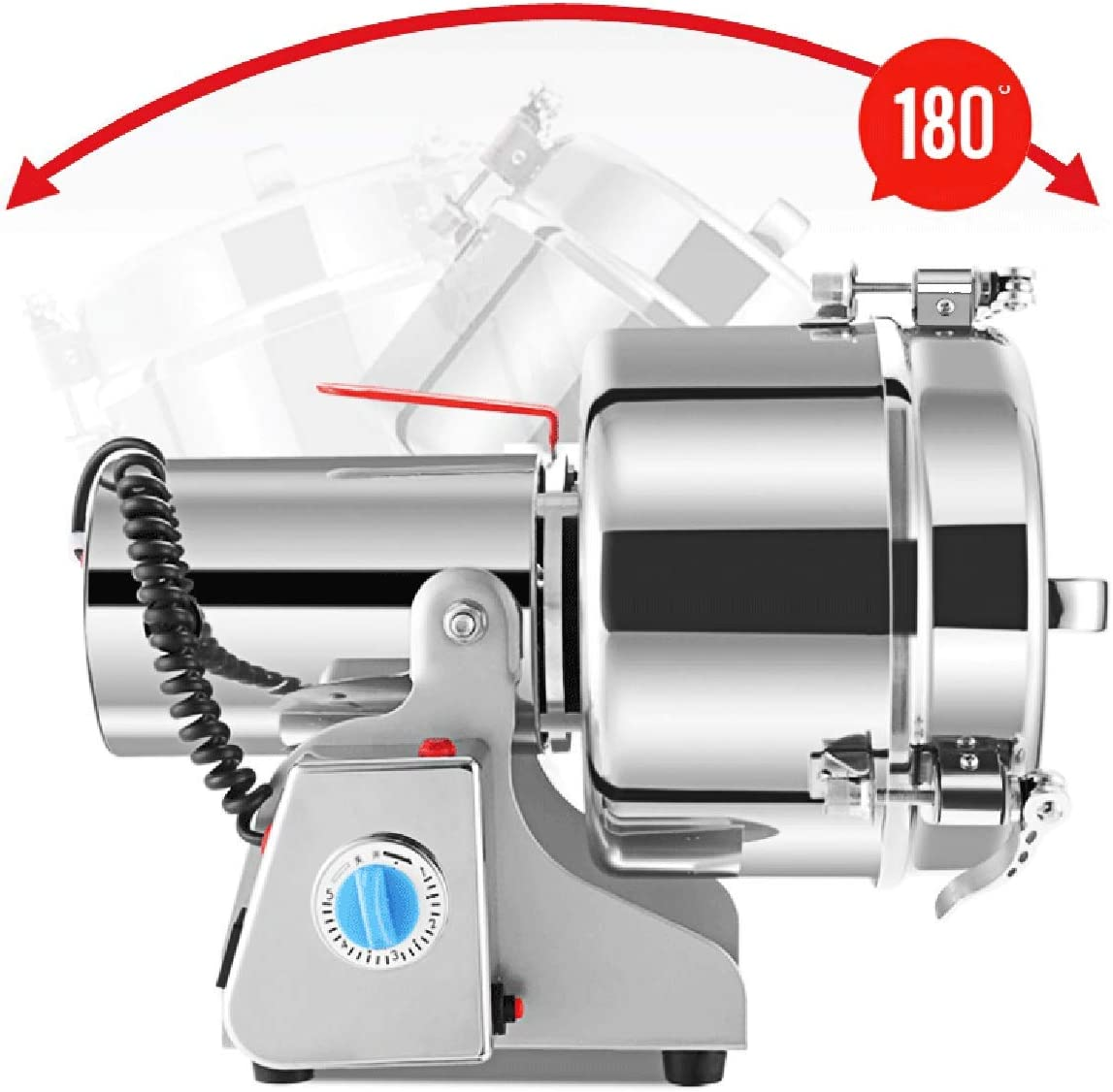New RRH 500G Swing Type Grain Mill Electric Spice Nut and Coffee Grinder High Speed 25000 RPM Stainless Steel Mill Grinder 2300W Powder Machine 50-300 Mesh, for Herbs Corn Sesame Soybean Pepper Bait Feed