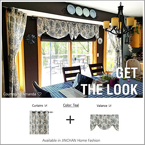jinchan Tie-up Valance Floral Printed for Kitchen Living Room Jacobean Adjustable Window Treatmentd Rod Pocket 1 pc 20 inch Length Blue