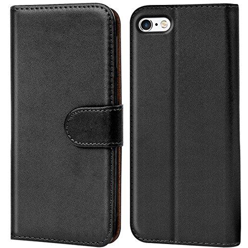 Verco Handyhülle für iPhone 5s Hülle, iPhone SE Hülle Schutzhülle für Apple iPhone 5/5s/SE Tasche PU Leder Flip Hülle Brieftasche - Schwarz