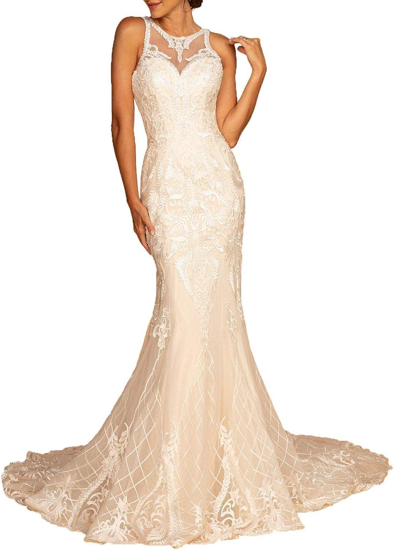 Aishanglina Women's Illusion Halter Mermaid Sweetheart Long Bridal Prom Gown Wedding Dress Fishtail