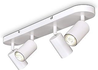 B.K.Licht I Lámpara de 4 llamas I giratoria I rotativa I GU10 I blanca mate I sin bombilla