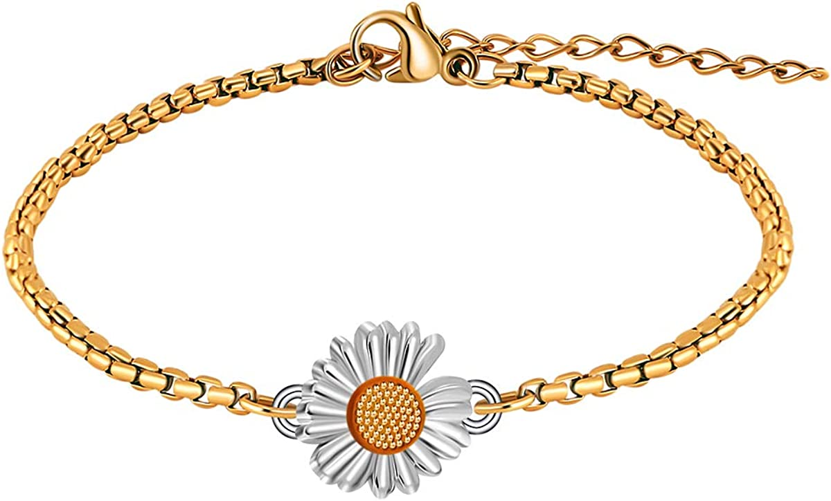 JoycuFF Sunflower Bracelets for Women Teen Girls Sister You are My Sunshine Jewelry Gifts for Wife Mom Daughter Fiancee Bridesmaid Cowerker Best Friend Stainless Steel Link Chain Daisy Monogram Charm