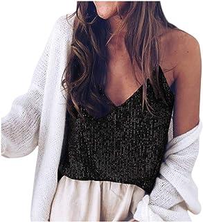 WUAI-Women Sparkly Sequin Sexy V Neck Spaghetti Strap Crop Top Sparkle Shimmer Camisole Vest