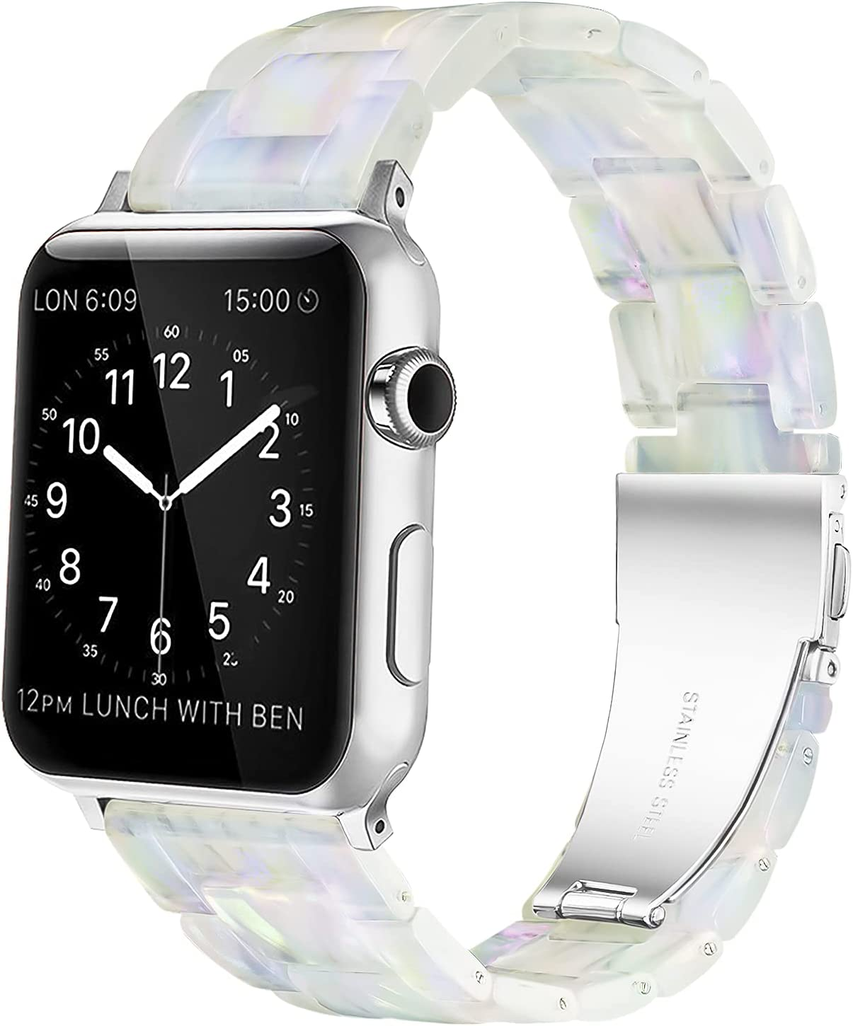 YGTIECS Resin Apple Watch Band Compatible with Apple Watch Band 38mm Women, Combine with Stainless Steel Connector for Apple Watch Band 40mm Series SE 6 5 4 3 2 1 for Women and Men- Pearl Phantom