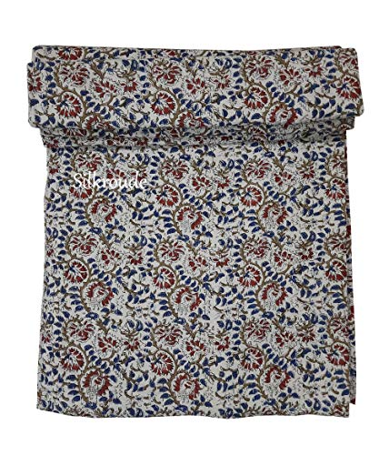 silkroude Indische handgemachte Bohemian-Hand-Blockdruck-Tagesdecke aus reiner Baumwolle, Kantha Hippie Kantha Bettüberwurf wendbar Tagesdecke Decke Bagru-Druck