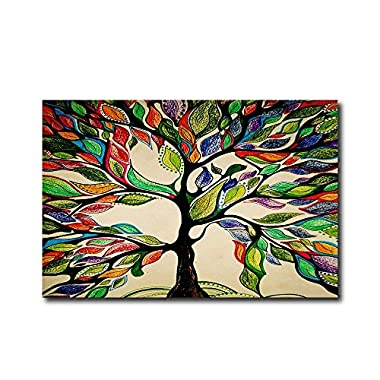 KAROLA Colorful Tree of Life Indoor Low Profile Non-Slip Washable Welcome Mat for Front Porch Entrance Shoe Scraper 32  x 20