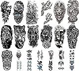 Tatuajes Temporales para Adultos Mujeres Hombres,12 Hojas Grandes Pegatinas de Tatuajes Temporales Lobo León Tigre Flor Calavera Tatuaje Falso Pegatinas y 13 Pequeños Tatuajes Impermeables Temporales
