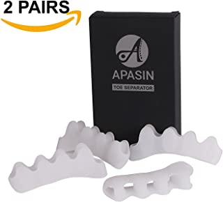 Toe separators and straighteners by APASIN, Bunion Pain Relief, Foot Spacers and Correctors use for Sports Activities, Yoga Practice & Running (2 Pairs - White)
