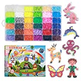 Fuse Beads Set - Complete Craft Package for Beading, 3D Art Projects, Decorative Accessories - Comes with 9600 Beads, 10 Pegboards, 4 Tweezers, 4 Iron Papers, 30 Rings, 1 Pattern Booklet and 4 Ropes