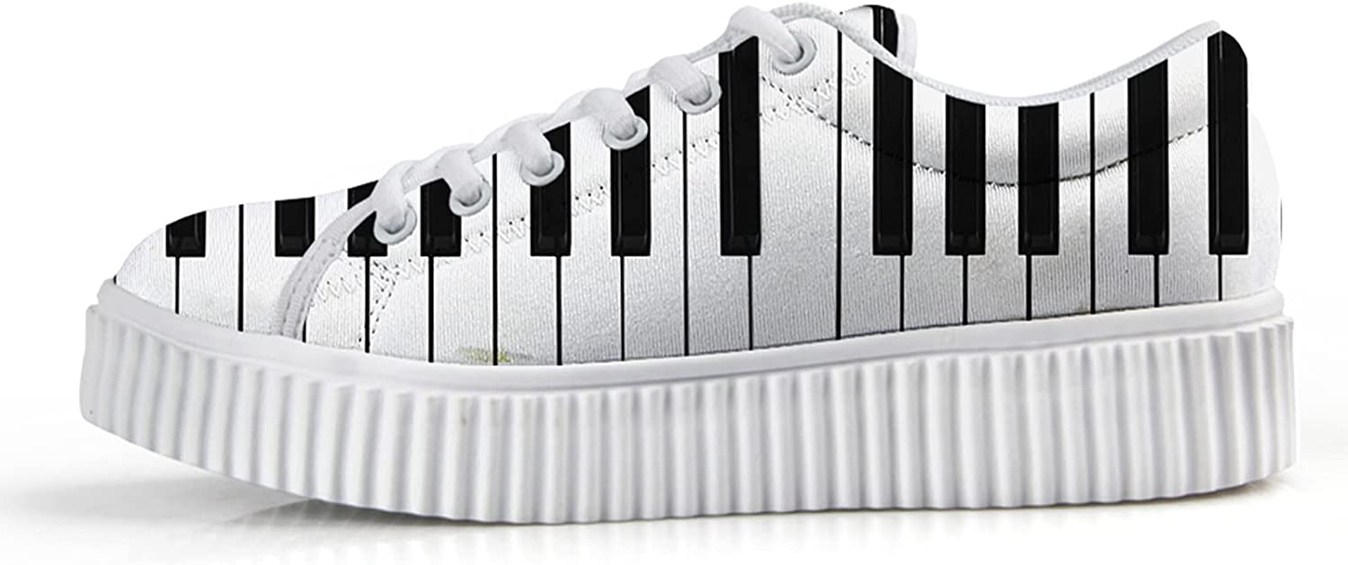 San Diego Mall Owaheson Piano Keys Wedge Max 43% OFF Sneakers for Sho Low Top Fashion Women