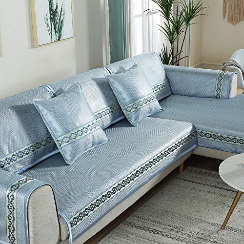 YUTJK Cubierta de sofá Fresco Lavable y Plegable,Funda de Sofá Resistente a Rayones Funda de Cojín de Protección para Mascotas Funda de Sofá Antisuciedad,Azul 1_110×210cm
