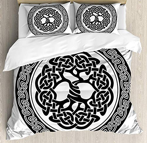 SINOVAL Celtic Duvet Cover Set King Size, Native Celtic Tree of Life Figure Ireland Early Renaissance Artsy Modern Design,Fashion 3 Piece Bedding Set with 2 Pillow Shams, Black Whit
