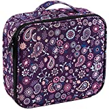 Joligrace Makeup Travel Bag Organizer for Women Cute Cosmetic Storage Train Case Portable Big Large Capacity with Adjustable Dividers for Make-Up Brush Toiletry Jewelry Purple Floral Print