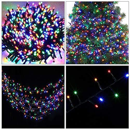 Monzana LED Lichterkette 14m bunt 700 LED Timer Fernbedienung Innen Außen 8 Leuchtmodi Weihnachtsbaum Weihnachtsdeko