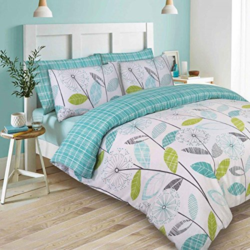Dreamscene Luxurious Allium Duvet Set with Pillowcase, Polyester/Cotton, Teal, Single