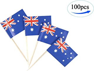 JBCD Australia Flag Australian Flags,100 Pcs Cupcake Toppers Flag, Country Toothpick Flag,Small Mini Stick Flags Picks Party Decorations Celebration Cocktail Food Bar Cake Flags