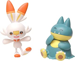 Pokemon New Sword and Shield Battle Action Figure 2 Pack - Munchlax and Scorbunny 2-Inch Figures