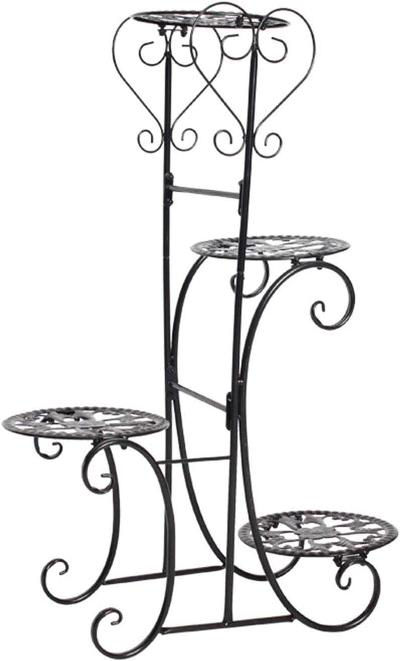 4 Tier Black Metal Plant Max 59% OFF Pot Flower Some reservation Stand Plan