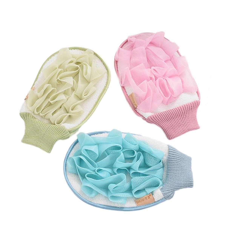 詐欺組フェザーHealifty ボディースポンジ シャワー用 グローブ シャワーボール 泡立てネット 背中も洗える メッシュ ボディ洗い泡肌美人 マッサージ 厚さ 3セット(色アソート)