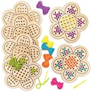 Baker Ross AT378 Flower Wooden Threading Kits, Pack of 4, Wood Template And Bright Coloured Wool For Children Arts And Craft