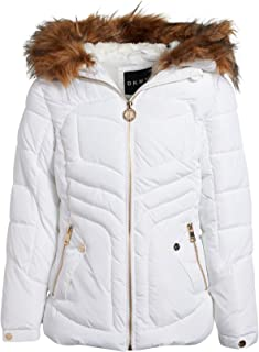 DKNY Girls Bubble Puffer Ski Jacket with Fur Trimmed Hood