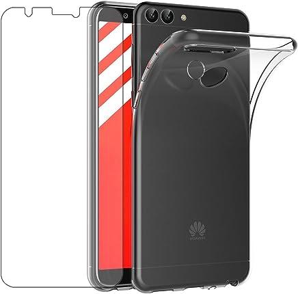 """Cover Huawei P Smart Custodia + Pellicola Protettiva in Vetro Temperato , Leathlux Morbido Trasparente Silicone Custodie Protettivo TPU Gel Sottile Cover per Huawei P Smart / Huawei Enjoy 7S 5.65"""""""