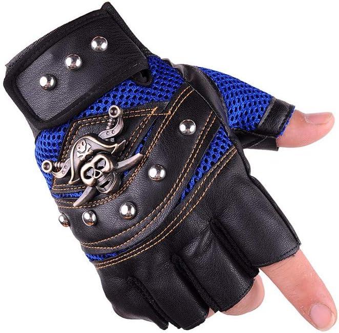 LZEEM Womens Mens Punk Rock Pirate Skull Leather Gloves 1 Pair,Vintage Motorcycle Captain Skeletal Rivet Driving Fingerless Mitten Gothic Anti-Slip