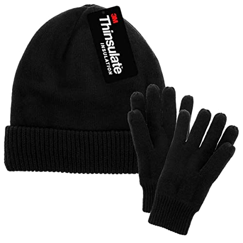 f1fd8a3d DG Hill Mens Winter Hat and Gloves Set with 3M Thinsulate Fleece Lining  Beanie
