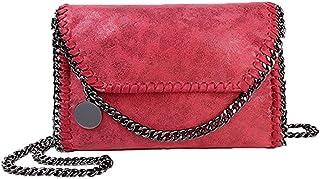 Sling Bag Women Chain Bag Fashion PU Leather Crossbody Bag Shoulder Bags Ladies Clutch Handbag KAVU Bag (Color : Red)