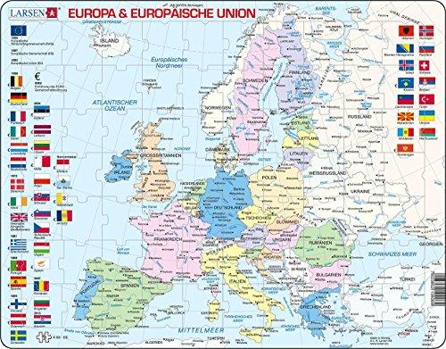 """Larsen K63 Rahmenpuzzle """"Europa & Europäische Union"""" 70 Teile"""