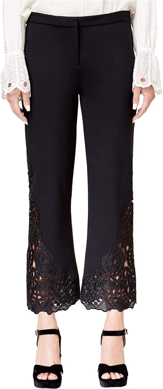 Kobi Womens Lace-Trim Casual Trouser Pants, Black, 10