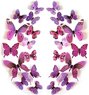 JYPHM 24PCS 3D Butterfly Wall Decal Removable Stickers Decor for Kids Room Decoration Home and Bedroom Art Mural Purple