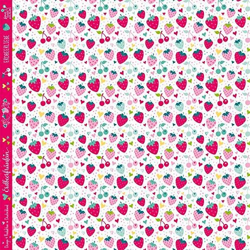 Finn liebt Annie Jersey Kinderstoff Erdbeerliebe 0,5m x 160cm