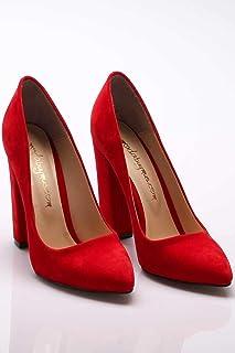 Büyük Numara Kırmızı Süet Stiletto Kalın Topuklu Bayan Ayakkabı