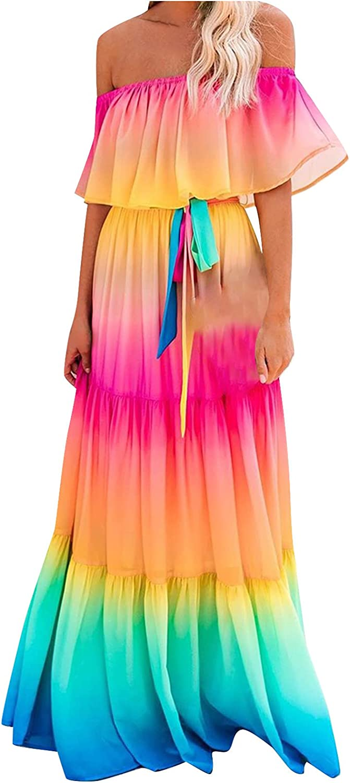 Women's Ruffle Tube Top Maxi Dress Summer Casual Gradient Print One Shouler Sleeveless Loose Long Dress