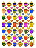 coffee cup diecut - Coffee Tea Cup Sticker Self-Adhesive Glitter Metallic Reflective Foil Decorative Scrapbook for Crafts Journal Planner Birthday Party Photo Card Diary Album (ST10-COFFEE)