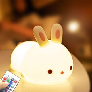 Night Lights for Kids, Color Changing, UTLK Cute Bunny Silicone Baby Light Animal nightlight for Children Girls Boys with ...