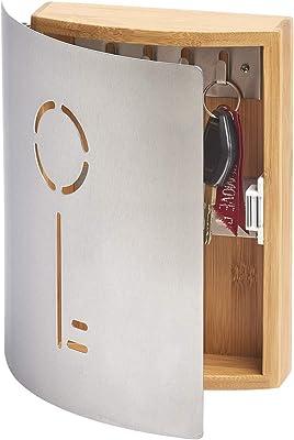 Zeller 13846 Armoire à clés en Hetre/Inox, 21,5 x 6 x 24,5 cm