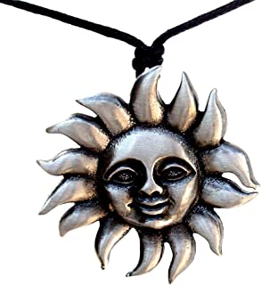 OhDeal4U Sun Gypsy Horoscope Smiling face Silver Pewter Pendant Charm Amulet w Necklace