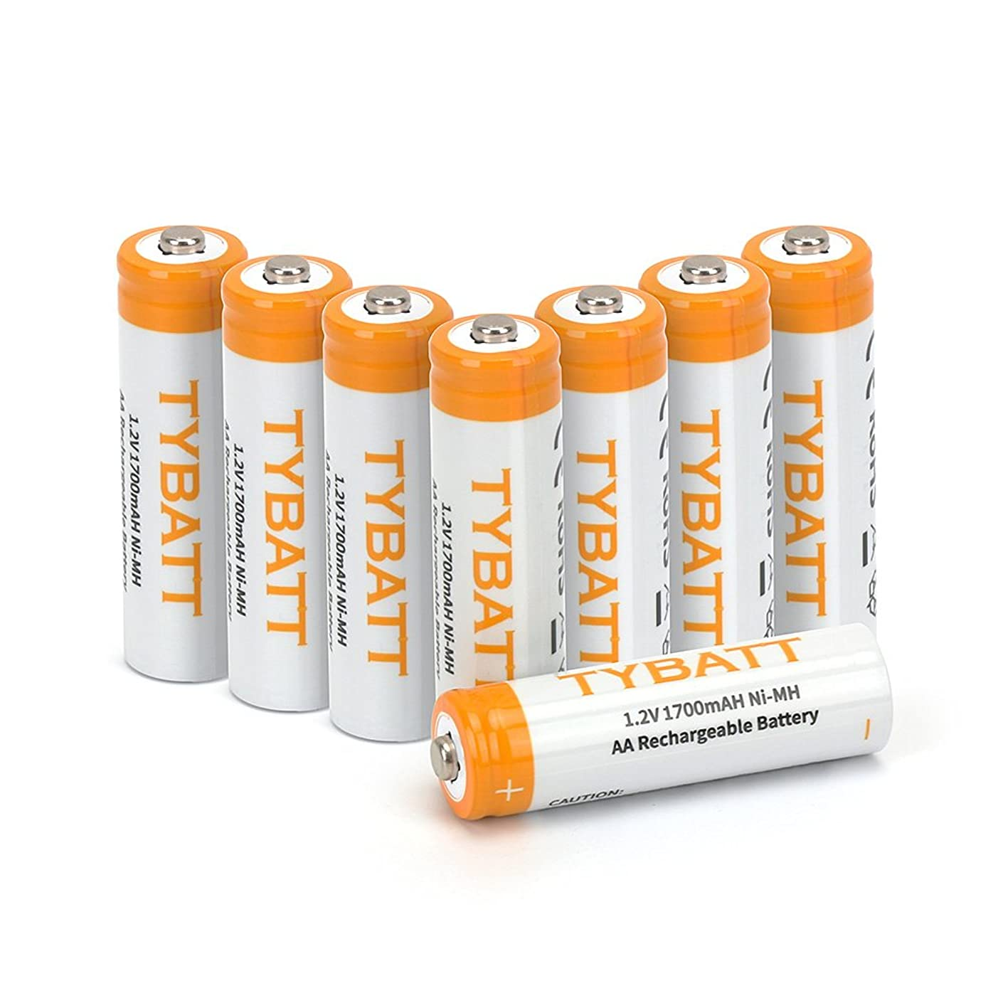 TYBATT Rechargeable AA Batteries(8-Pack), Precharged Batteries AA 1700mAh for Solar Lights, Remote Controls ,Toys