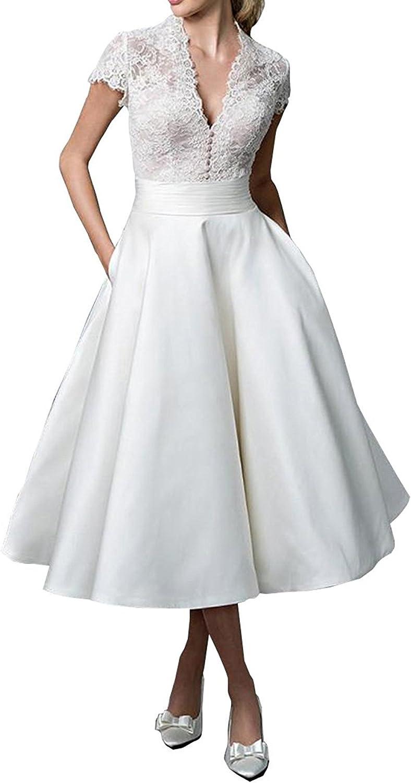 RightBride Women's Double VNeck Short Sleeve Tea Length ALine Wedding Bride Dresses 2017