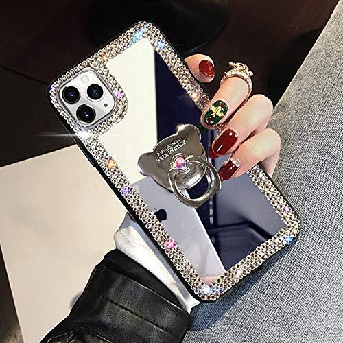 AAA&LIU Funda para teléfono con Soporte de Anillo para iPhone 12 Mini 11 Pro MAX XR XS MAX 8 7 6 6S Plus SE 2020 Funda con Espejo de Diamante para iPhone 11 Pro, Plateada, para iPhone 7 Plus