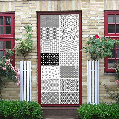 Autocollant de porte 3d d'art moderne, autocollant de porte amovible en vinyle à motif linéaire sans couture géométrique Mega Collection pour décoration intérieure, 30,3\