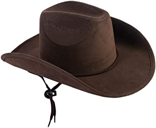 Children's Dark Brown Felt Cowboy Hat with Drawstring