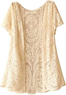1ce7be74e9c GLORYA Womens Short Sleeve Sun-Protect Lace Shrug Cardigans
