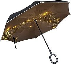 senya Reverse/Inverted Umbrellas Golden Music Notes Double Layer Big Straight Umbrella UV Protection Windproof Travel Umbrella C-Shaped Handle