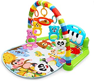YUIOP Baby Kick 'n Play Piano Gym, Infants Newborn Mat with 2 Modes Kick Piano, Mirror, 4 Rattle Toys Kids 0-36 Month Baby Interactive Lights and Sounds Fitness Fun Piano