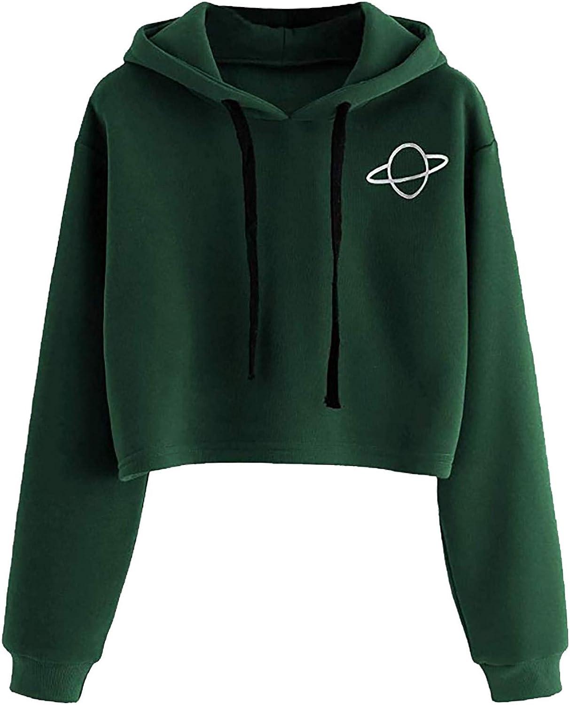 Hoodies for Women,Cat Ears Crop Hoodies Women's Basic Pullover Hoodies Long Sleeve Cropped Sweatshirts Teen Girls Crop Tops