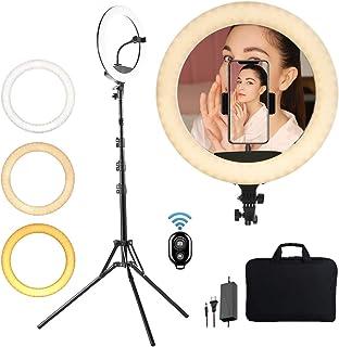 KEAYEO LEDリングライト 18インチ 照明撮影用ライト 自撮り 高さ調整可能三脚スタンド 美顔 YouTube生放送
