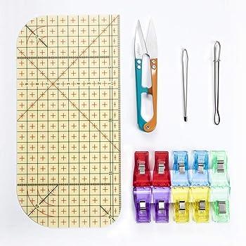 【最新版】アイロン定規 測定ツール 仮止めクリップ ひも通し 糸切はさみセット DIY用品 耐熱定規 手芸用品 裁縫道具